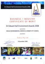 Certificate of Merit Dr Edward Hall Awards 2008
